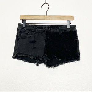 [Lovesick] Distressed Lace Cut Off Denim Shorts